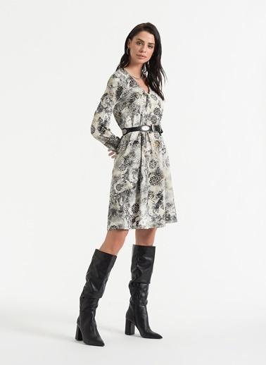 Styletag Desenli Elbise Ekru